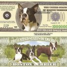 BOSTON TERRIER DOG ONE MILLION DOLLAR BILLS x 4 NEW