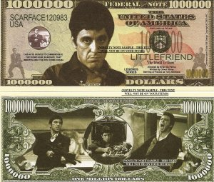 SCARFACE AL PACINO TONY MONTANA MILLION DOLLAR BILLS x 4