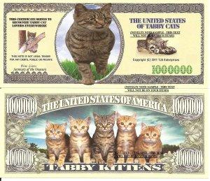 TABBY CAT KITTENS MILLION DOLLAR BILLS x 4 NEW