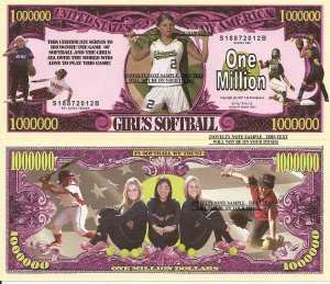 GIRLS SOFTBALL MILLION DOLLAR BILLS x 4 BASEBALL