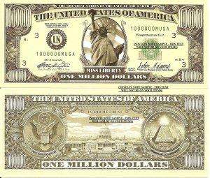 Million Billion Trillion Zillion American Dollar Bills Set of 8