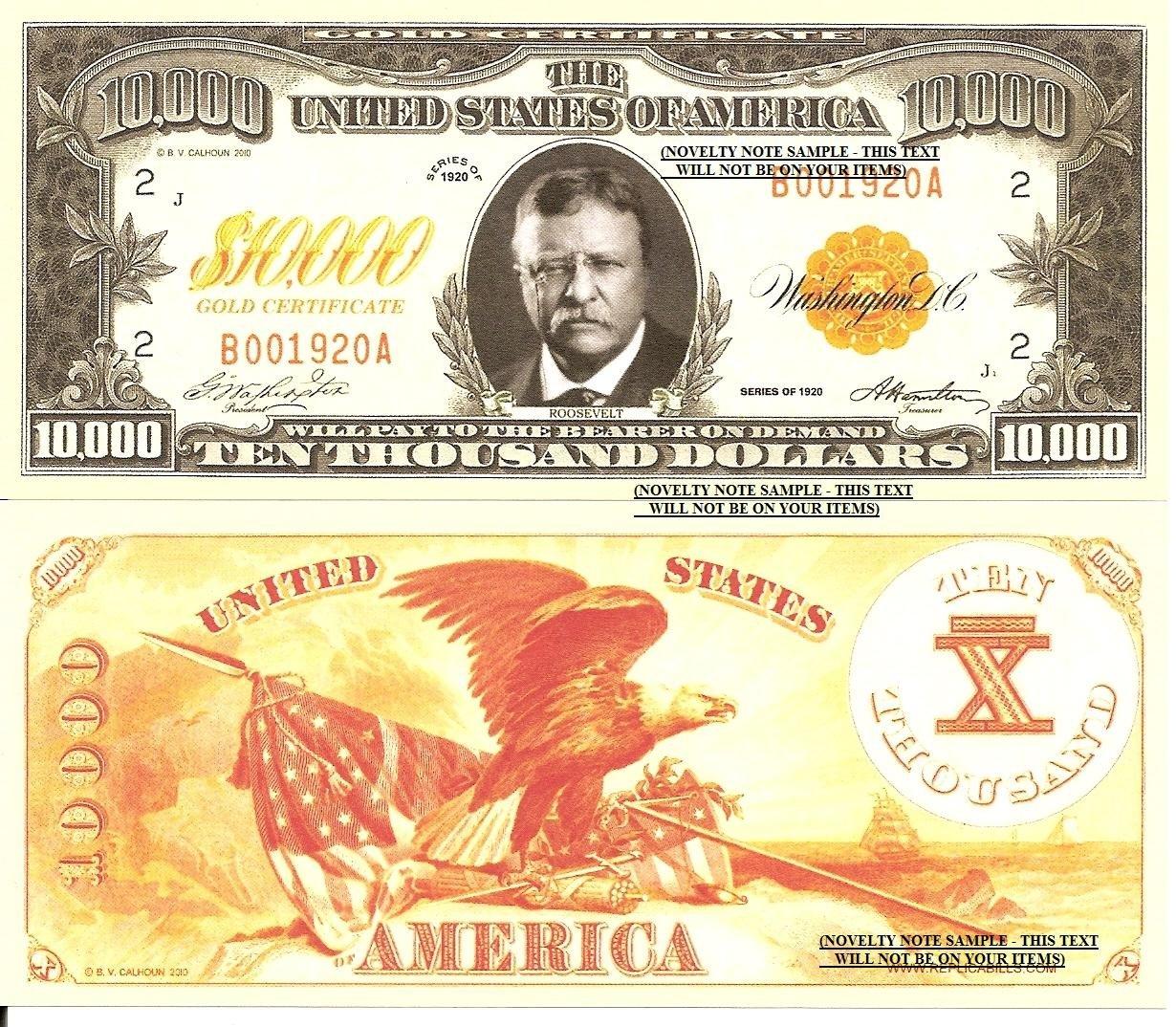 New 10000 Dollar Bill Roosevelt Gold Certifi...