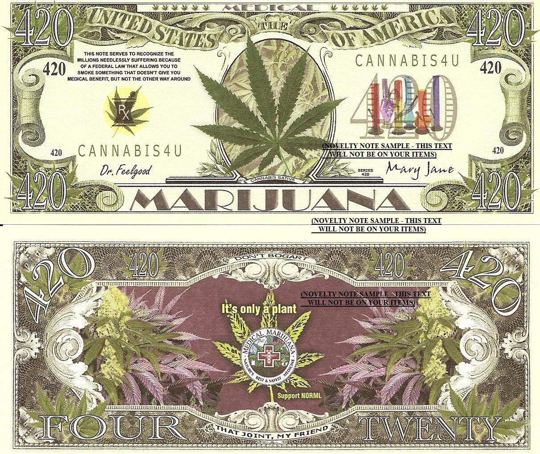 Medical Marijuana Cannabis Satvia 420 Dollar Bills x 4