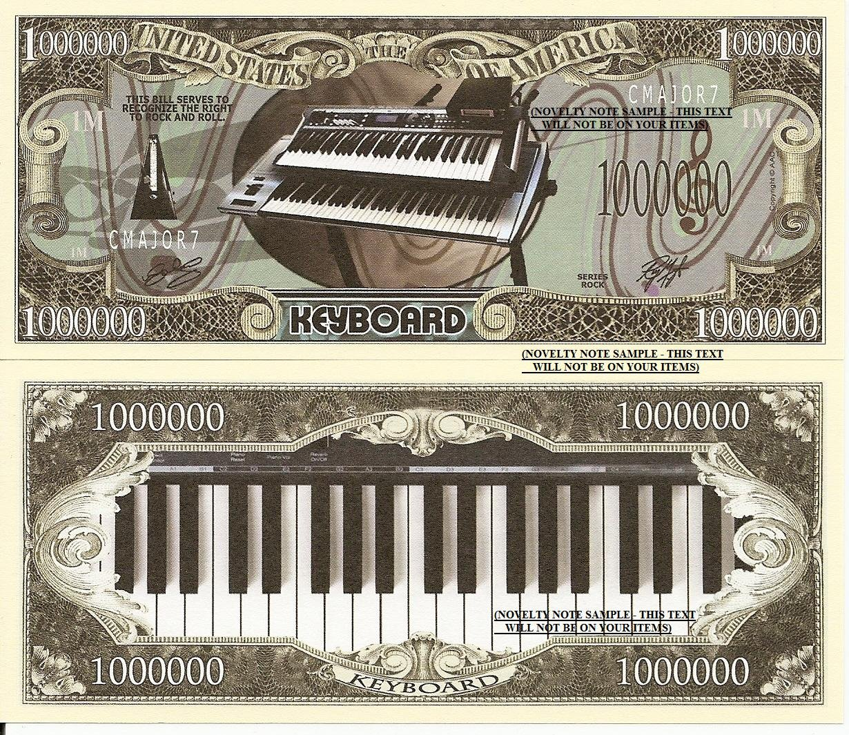 Keyboard Piano Right to Rock and Roll Dollar Bills x 4 Musical Instrument