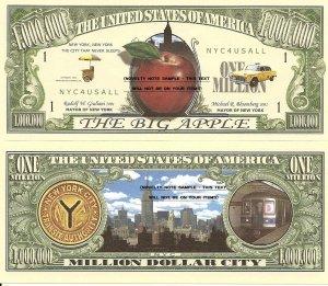 New York City The Big Apple Million Dollar Bills x 2 NYC