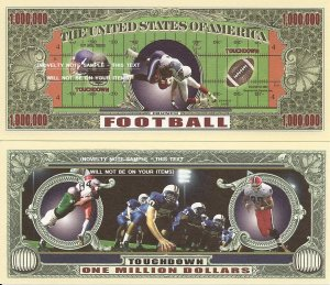American Football Touchdown Million Dollar Bills x 4