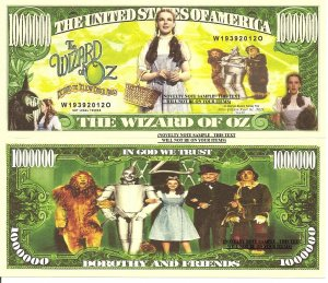 The Wizard of Oz Million Dollar Bills x 4 Yellow Brick Road Dorothy