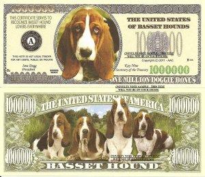 Basset Hound Dog Puppy Lovers Million Dollar Bills x 4 New