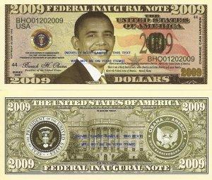 Barack H Obama President Inaugural 2009 Dollar Bills x 4 United States America