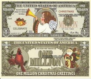 Christmas Angel Joy to the World Million Dollar Bills x 4 New Seasons Greetings