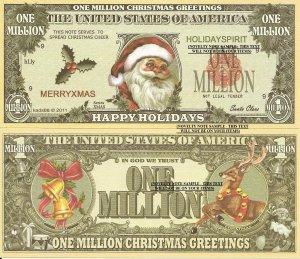 Santa Claus Happy Holidays Christmas Million Dollar Bills x 4 New Greetings