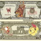 Santas Reindeer Merry Christmas Million Dollar Bills x 4 New Greetings