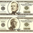 Presidents George W Bush Father and Son Dollar Bills x 2 41st 43rd United States