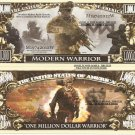 Modern Warrior One Million Dollar Bills x 4 Soldier Warfare Battle Grounds