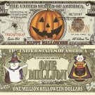 Happy Halloween Jack O Lantern Pumpkin Trick or Treat Million Dollar Bills x 4
