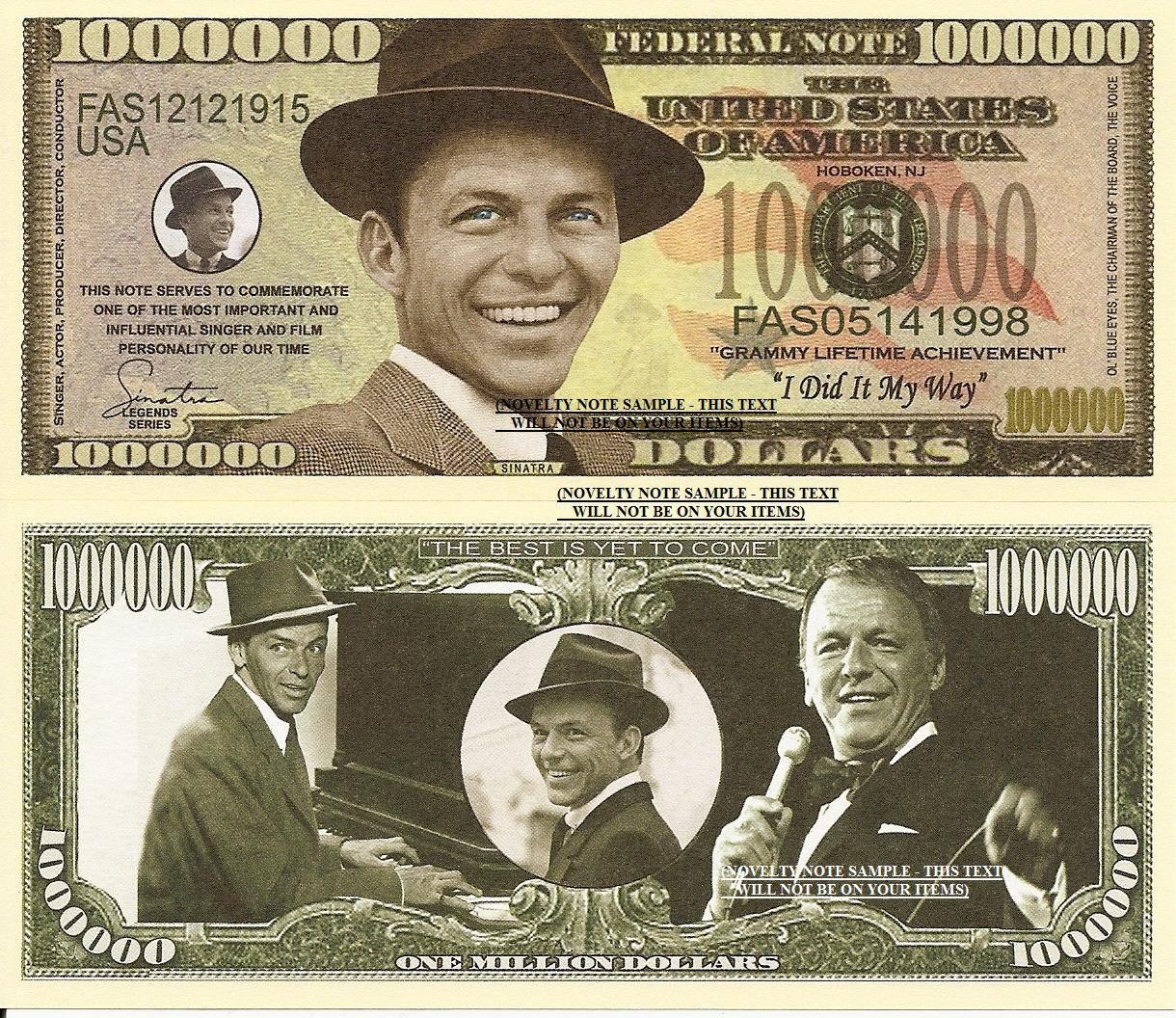 Frank Sinatra Ol Blue Eyes Million Dollar Bills x 4 I Did It My Way Singer Actor