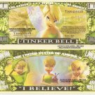 Tinker Bell Fairy I Believe Million Dollar Bills x 4 Peter Pan
