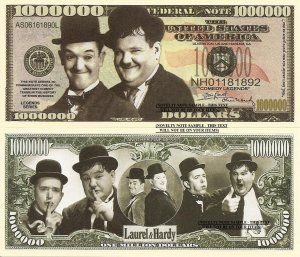 Laurel and Hardy Stan and Oliver Comedy Legends Million Dollar Bills x 4 New