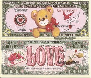 Love is Forever Sweetheart Soul Mate Love Note Million Dollar Bills x 4