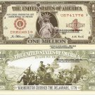 Statue of Liberty Washington Crosses the Delaware 1776 Million Dollar Bills x 4