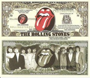 The Rolling Stones 50th Anniversary Million Dollar Bills x 4 Rock N Roll Band