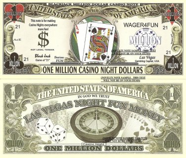 Blackjack Craps Roulette Poker Million Casino Night Dollar Bills Set of 8 Las Vegas