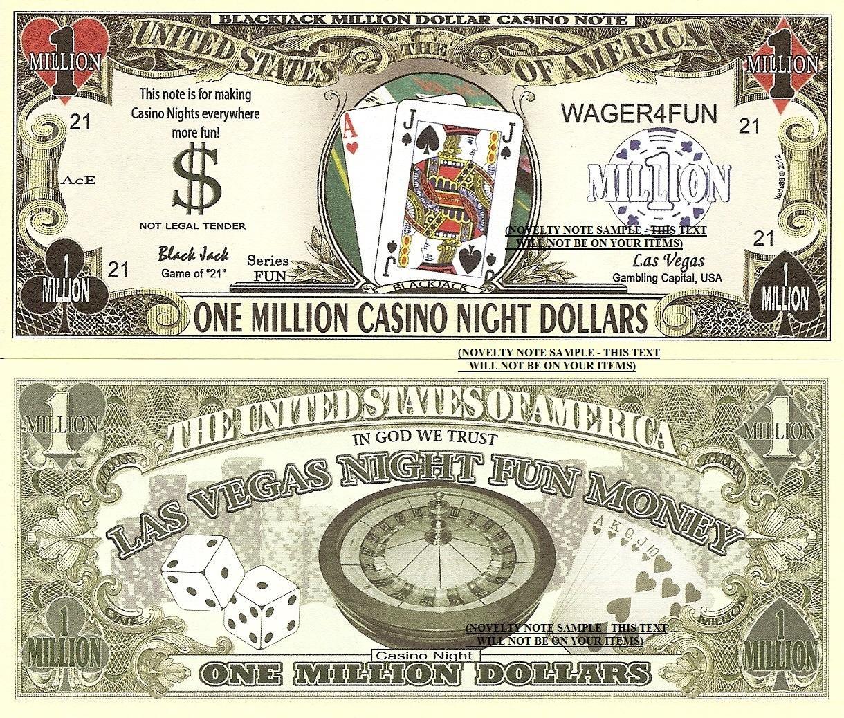 Blackjack One Million Casino Night Dollar Bills x 4 Las Vegas Fun Money Notes 21