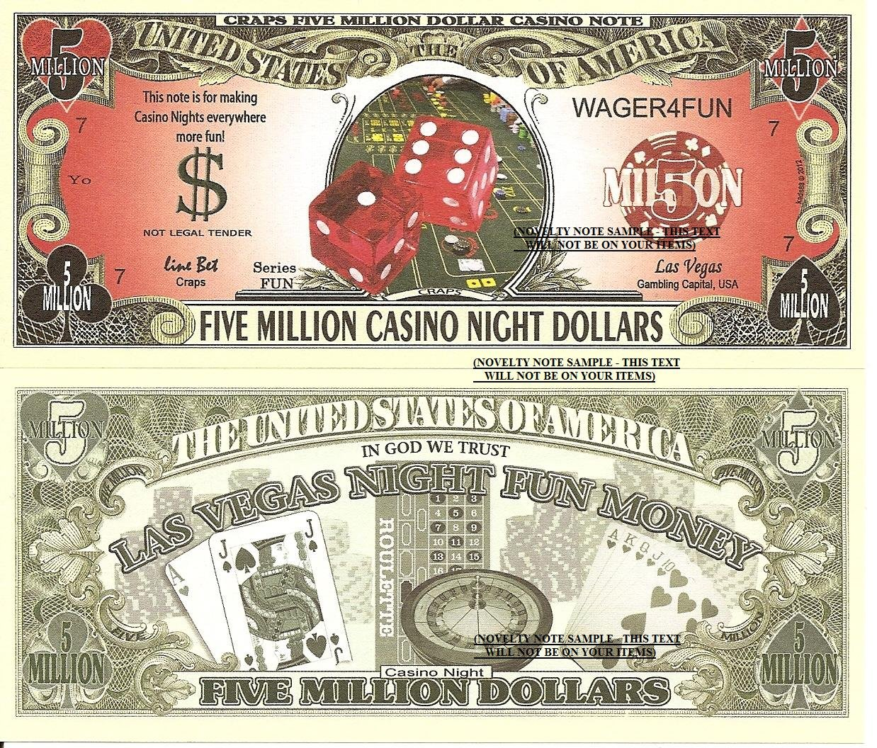 Craps Five Million Casino Night Dollar Bills X 4 Las Vegas