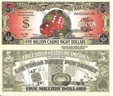 Craps Five Million Casino Night Dollar Bills x 4 Las Vegas Fun Money Notes