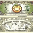 Roulette 25 Million Casino Night Dollar Bills x 4 Las Vegas Fun Money Notes