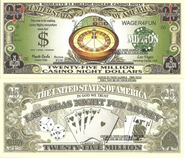 Roulette 25 Million Casino Night Dollar Bills x 4 Las Vegas Fun Money Notes