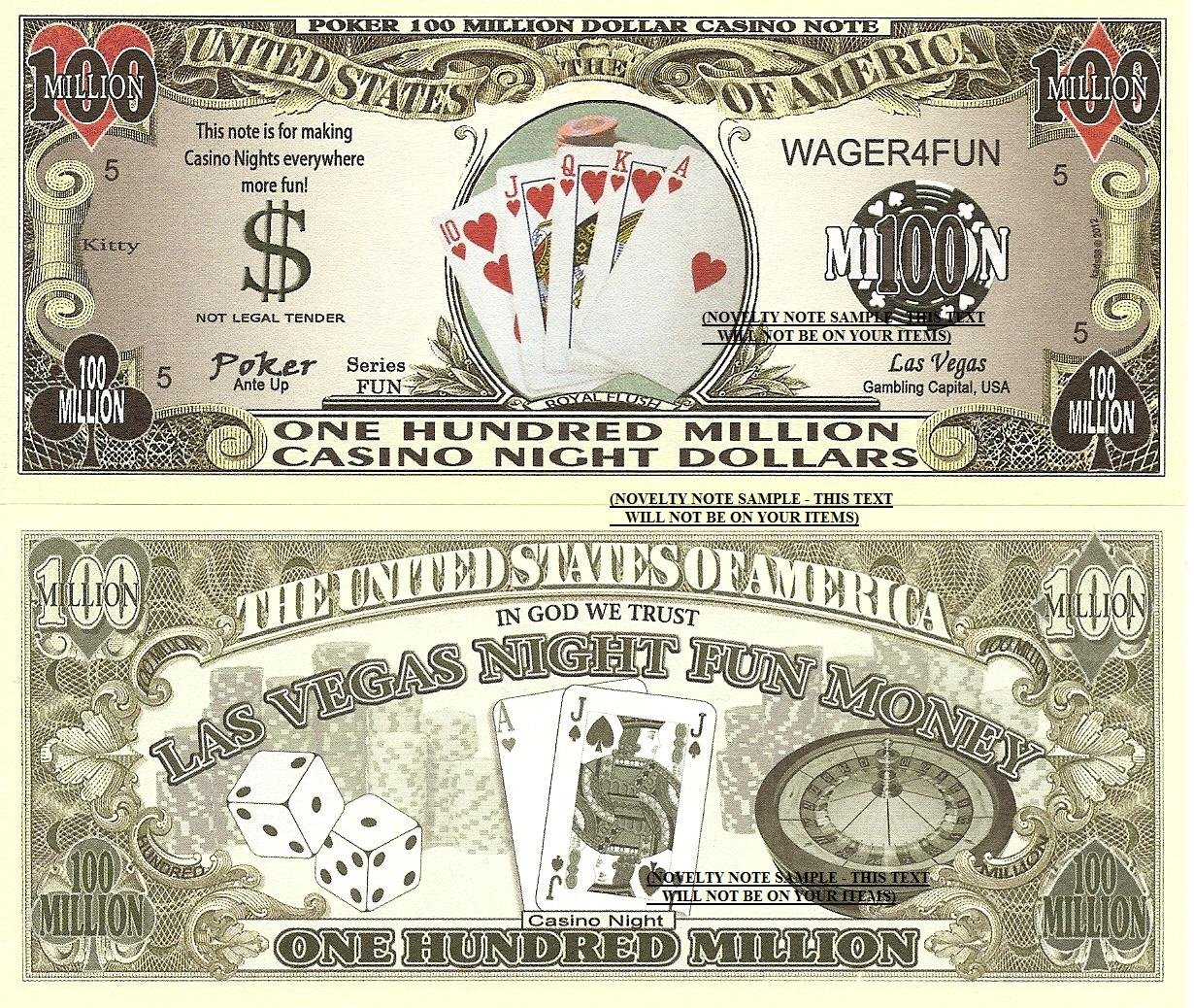 Poker 100 Million Casino Night Dollar Bills x 4 Las Vegas Fun Money Royal Flush