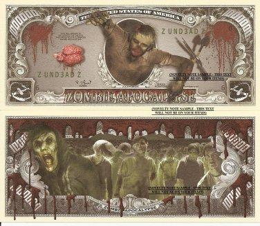 Zombie Apocalypse One Million Dollar Bills x 4 Undead Monsters