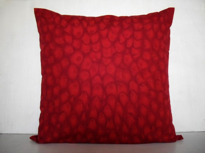 "Red petals on 16""x16"" batik painted cushion cover"