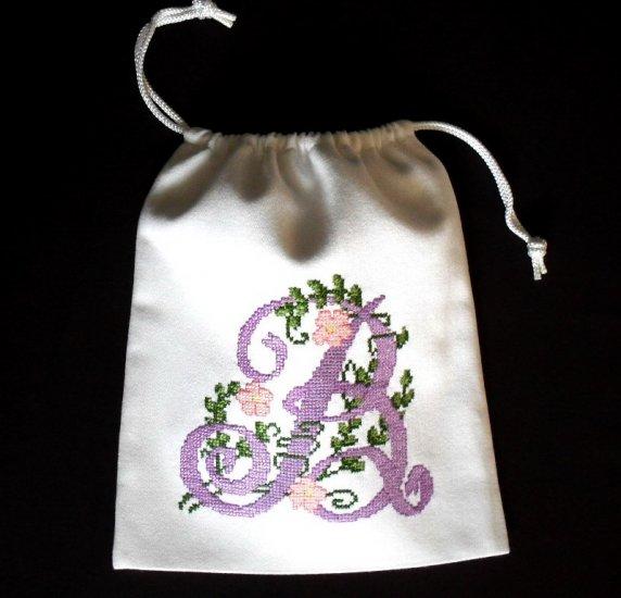 "Letter B -cross stitch on 8""x 9""white denim drawstring pouch"