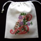"Letter C-cross stitch on 8""x 9""white denim drawstring pouch"