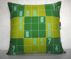 "Sudoku Game(1) on 18""x18"" batik painted cushion cover"