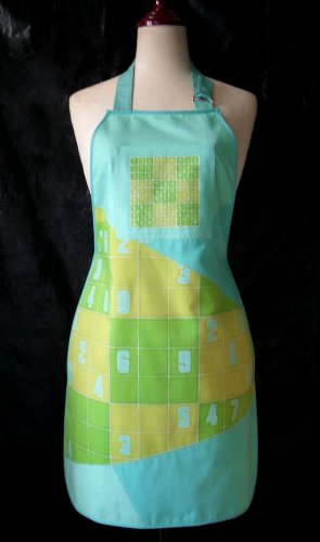 Sudoku design batik painted apron for woman