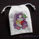 "Little rabbit -cross stitch on 5""x7""white denim drawstring pouch"
