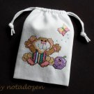 "Little mouse and butterfly-cross stitch on 5""x7""white denim drawstring pouch"