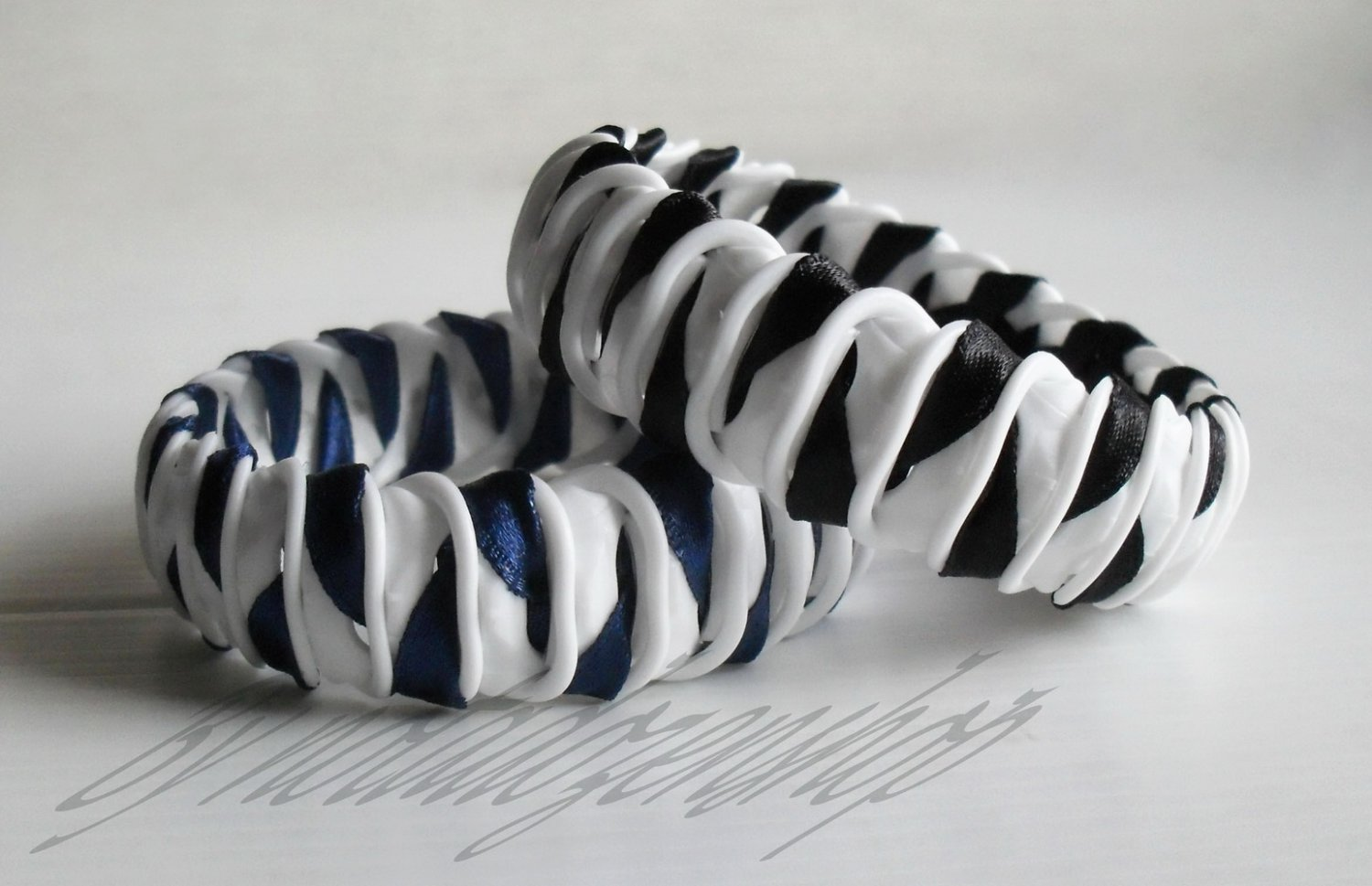 Recycled Bottle Caps Bracelet/women bangle(2)-black/navy blue ribbon wrapped handmade jewelry