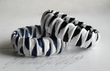 Recycled Bottle Caps Bracelet/women bangle(2)-black/navy blue ribbon wrapped handmade jewelry