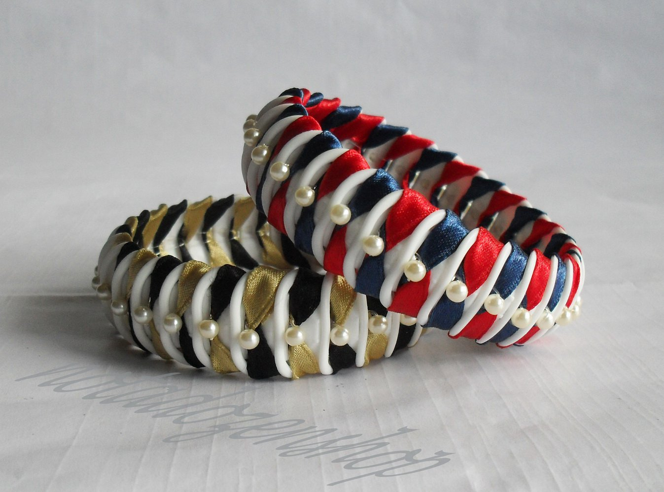Recycled Bottle Caps Bracelet/women bangle(3)-black and gold/red and blue ribbon wrapped and beads