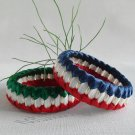 Recycled Bottle Caps Bracelet/women bangle(5)-red and green/red and blue ribbon wrapped and beads