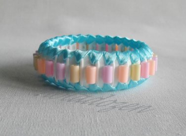 Recycled Bottle Caps Bracelet/women bangle(9)-light blue ribbon and color beads/handmade jewelry
