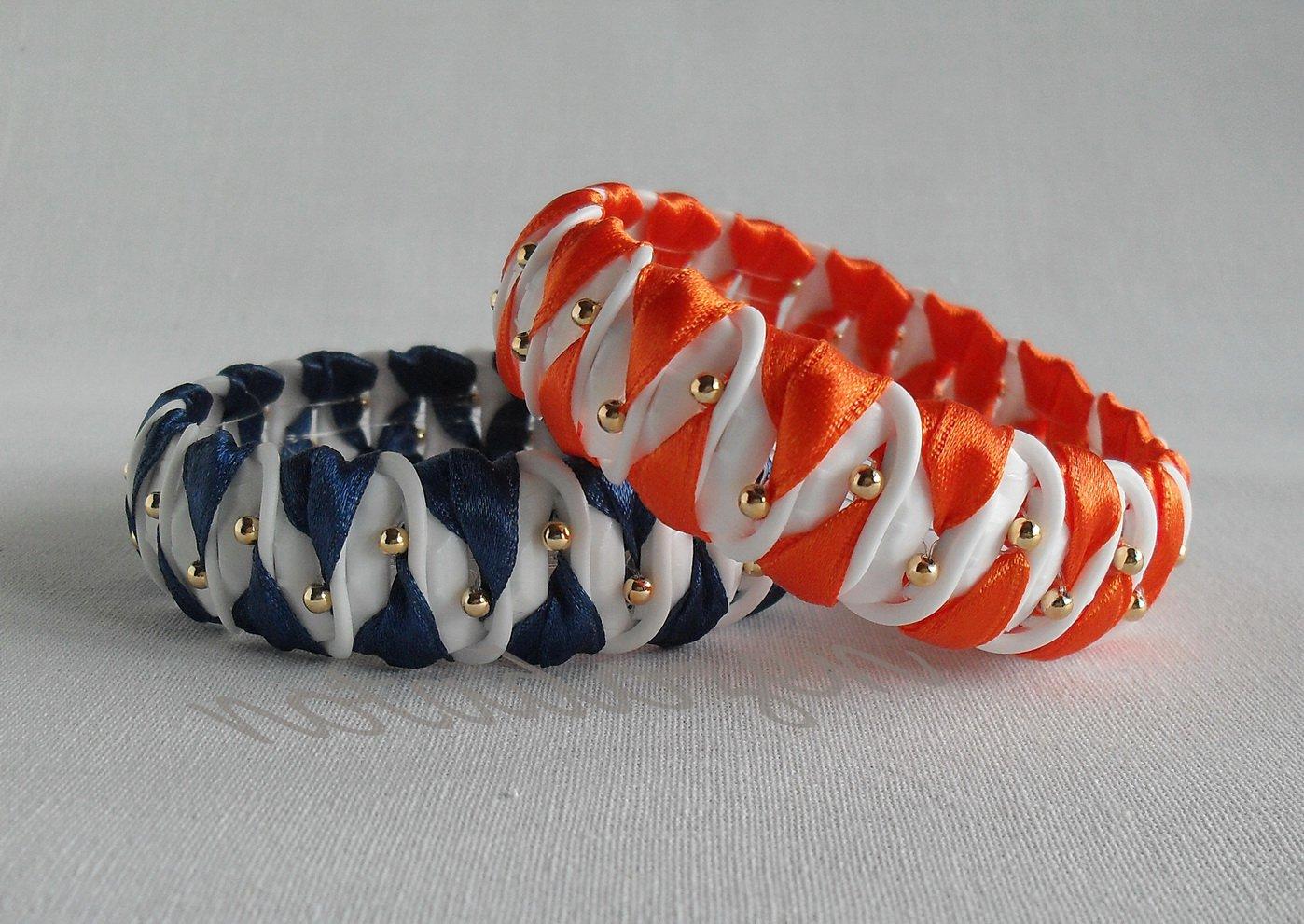 Recycled Bottle Caps Bracelet/women bangle(11)-orange/navy blue chevron wrapped and gold beads