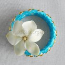 Recycled Bottle Caps Bracelet/bangle/flower(12)-light blue ribbon and gold beads/handmade jewelry