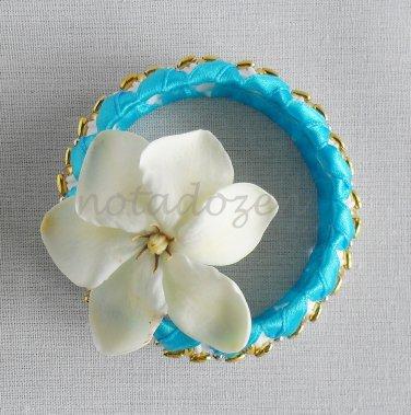 Recycled Bottle Caps Bracelet/bangle/flower(12)-light blue ribbon and gold beads/handmade jewelry