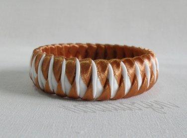 Recycled Bottle Caps Bracelet/women bangle(13)-brown ribbon obliquely wrapped/handmadejewelry