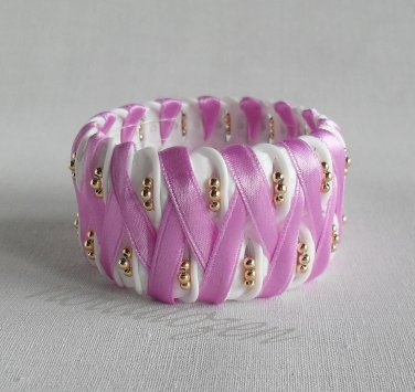 Recycled Bottle Caps Bracelet/fish bone stitch(15)-purple ribbon and gold  beads handmade jewelry